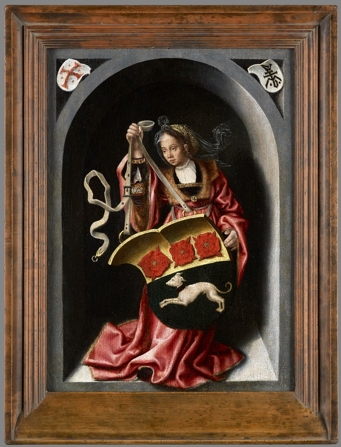Bernaert  van Orley - A Lady Holding a Heraldic Shield within a Painted Niche  | MasterArt