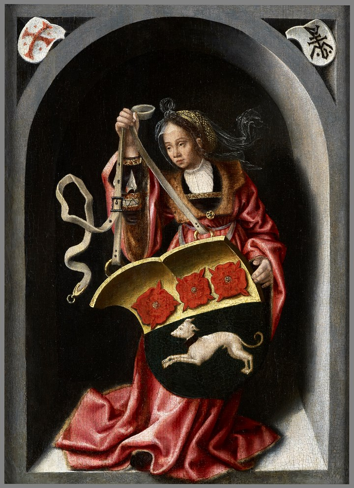 A Lady Holding a Heraldic Shield within a Painted Niche