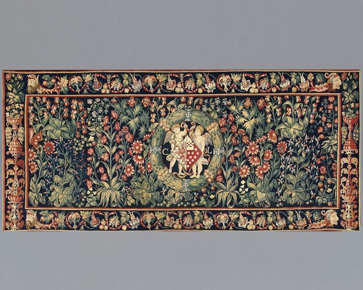 A Millefleurs Tapestry with the coat of arms and initials of Christine de Lechy