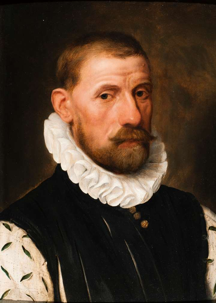A Portrait of Lamoraal, Count of Egmont, wearing a Linen Ruff and a White and Green Silk Sleeved Doublet