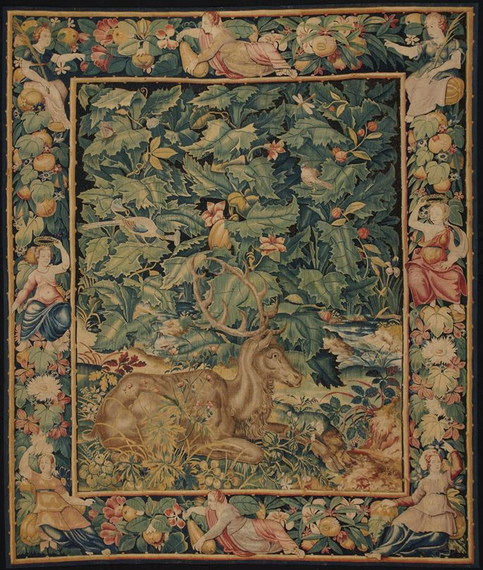 Tapestry: Feuilles de Choux with Stag | MasterArt