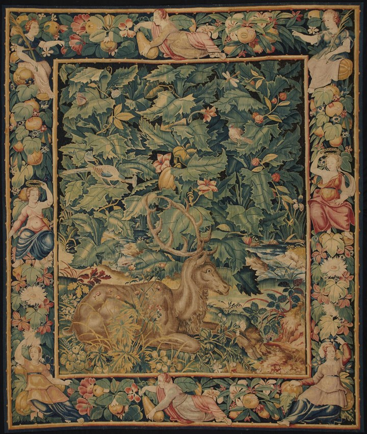 Tapestry: Feuilles de Choux with Stag