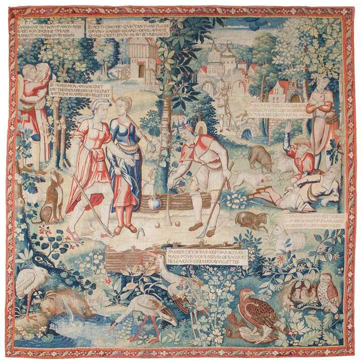 Tapestry depicting the Ball Game from the story of Gombaut and Macée