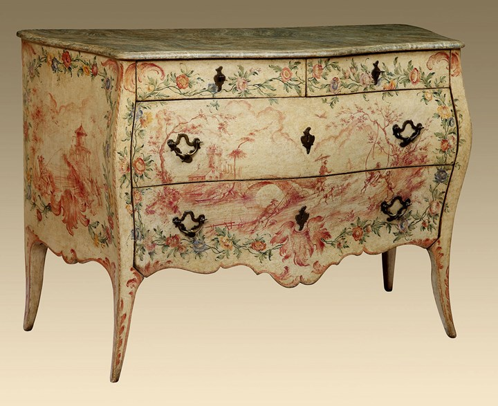 A Genoese Rococo Painted and Lacquered Commode