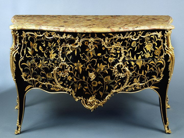 A Louis XV Black Lacquer and Ormolu Commode with a Pair of Encoignures en suite