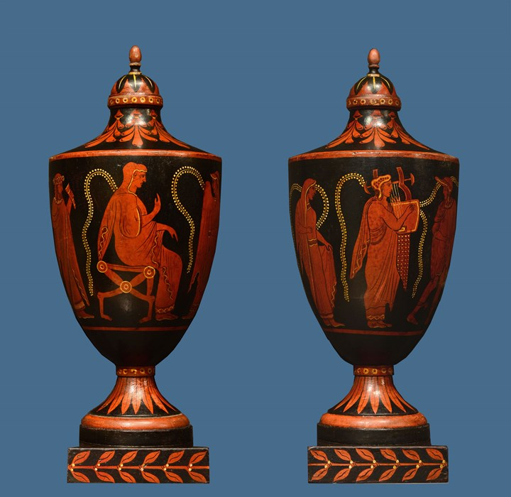 A Pair of Northern European Wooden Etruscan Vases