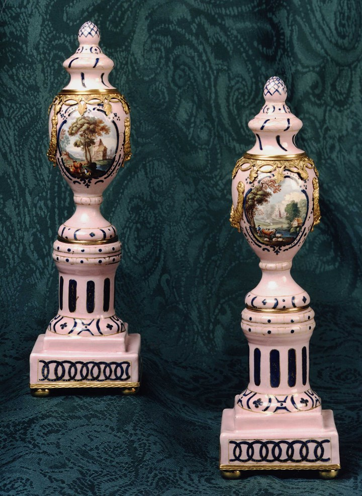A Pair of Staffordshire Enamel Candle Vases