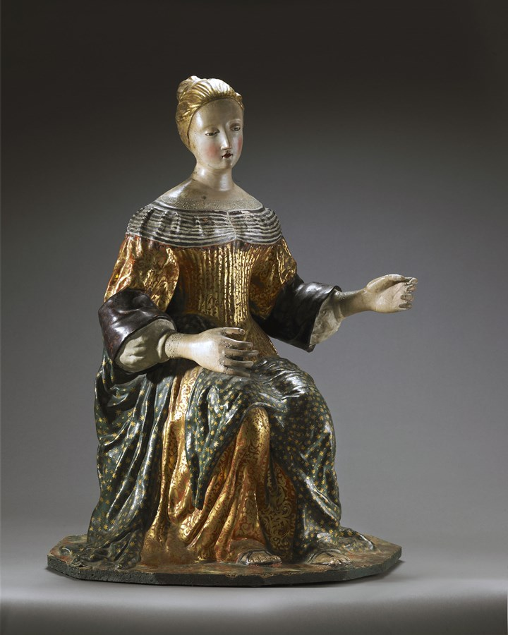 A Rare Central Italian Polychrome Cartapesta Statue of the Madonna