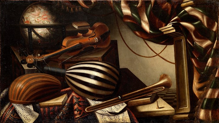 A Pair of Still-Lives with Musical Instruments