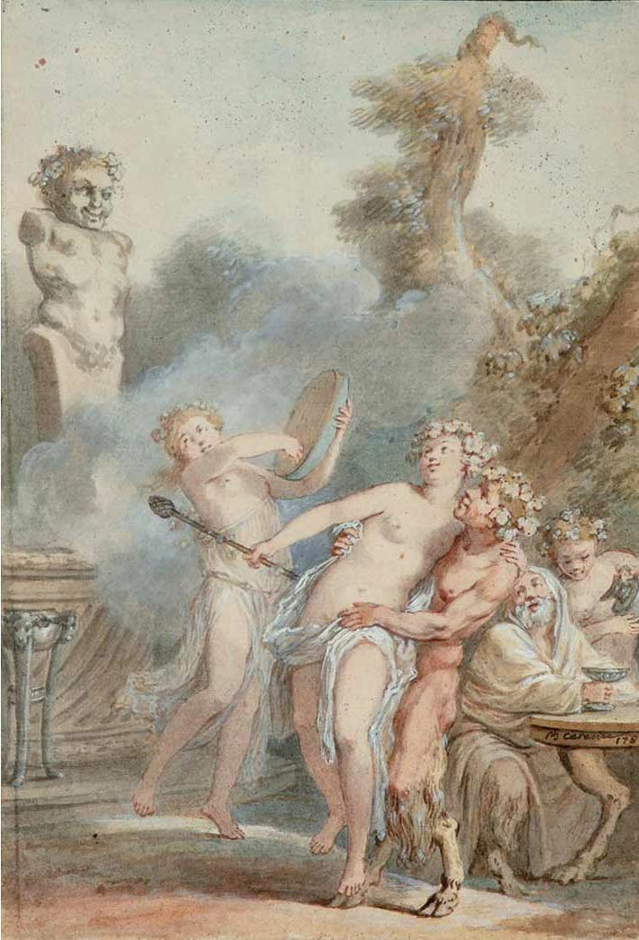 Satyrs and Bacchantes offering sacrifices to Pan