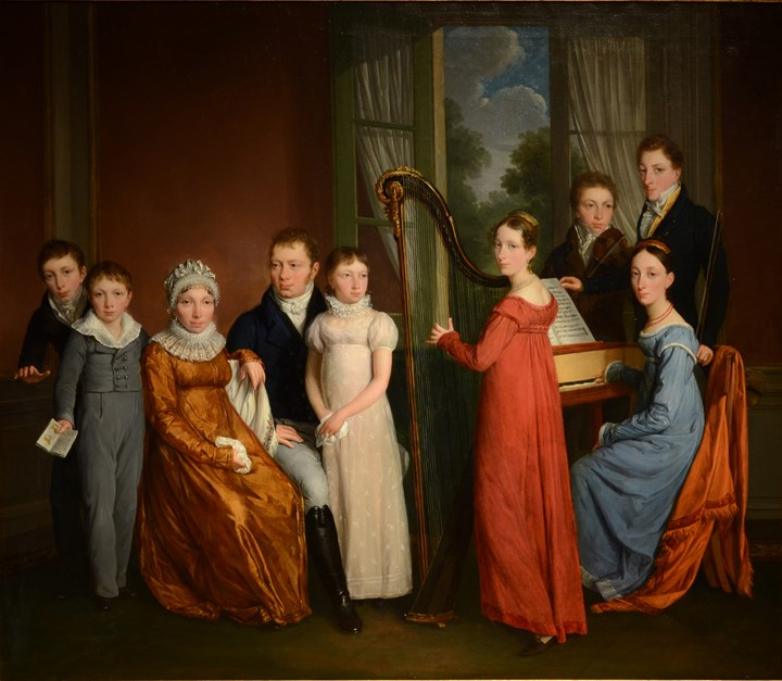 Portrait group of a Family making music together, possibly the De Bie Family of Brussels, 1817