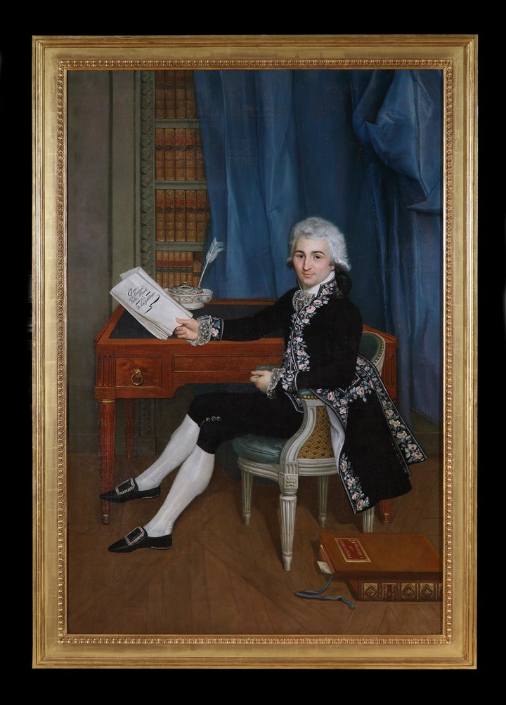 Portrait of a Gentleman in his Study, reading a copy of Essai sur l'accord de la Morale et de la politique