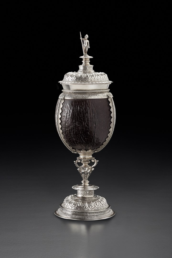 A Belgian silver mounted Coconut Cup and Cover