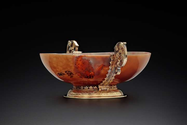 A silver gilt mounted agate bowl