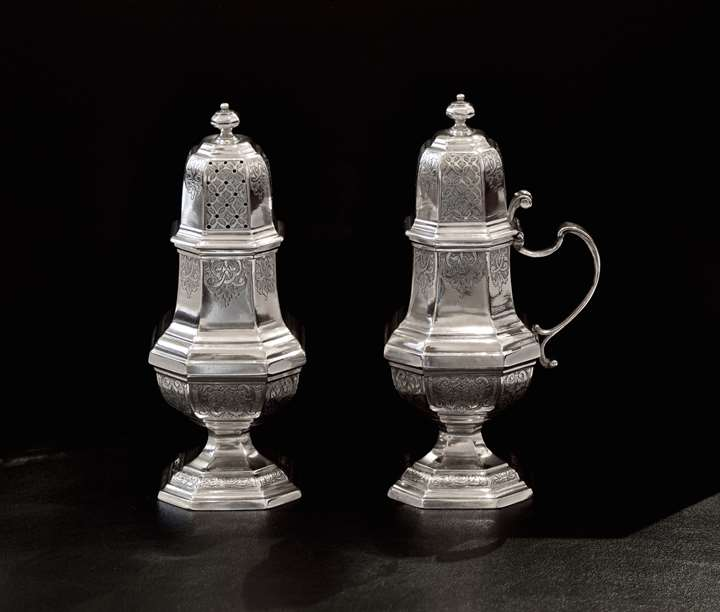 Belgian mustard pot and caster