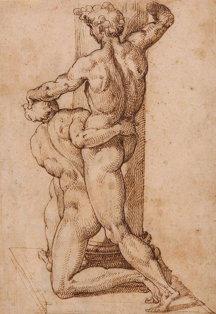 Two Male Figures Fighting