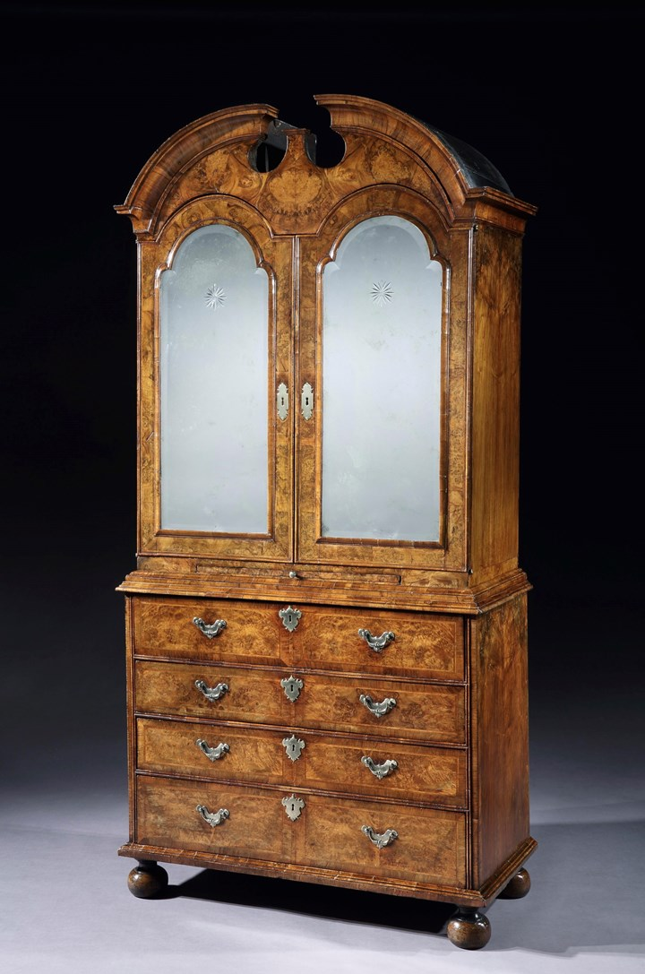 A GEORGE I WALNUT SECRETAIRE CABINET BY WILLIAM OLD AND JOHN ODY
