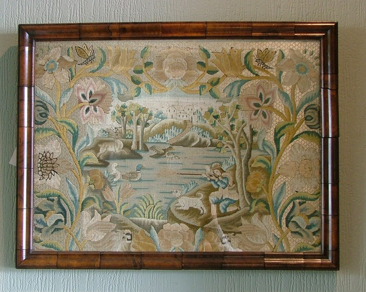 A LATE 18TH NEEDLEWORK PICTURE OF A DUCKSHOOT
