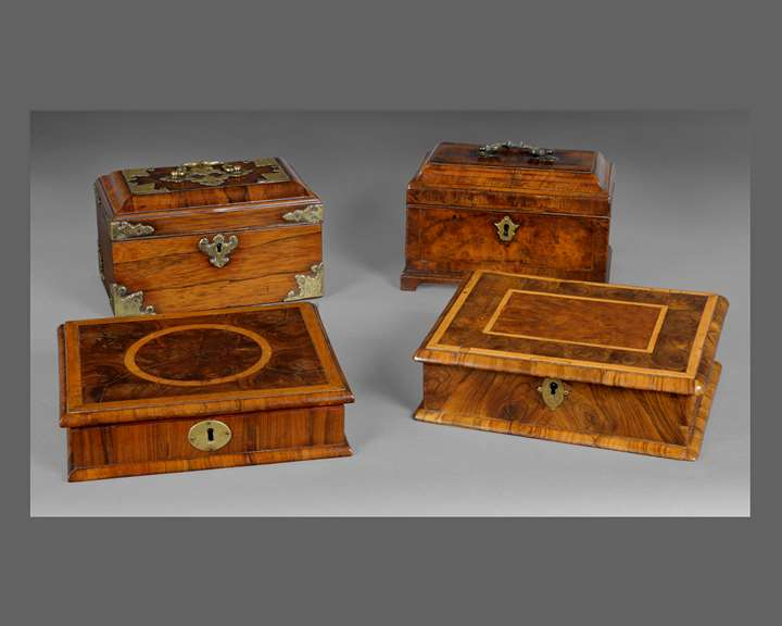 A SELECTION OF TWO WILLIAM AND MARY LACE BOXES AND TWO GEORGE I TEA CADDIES