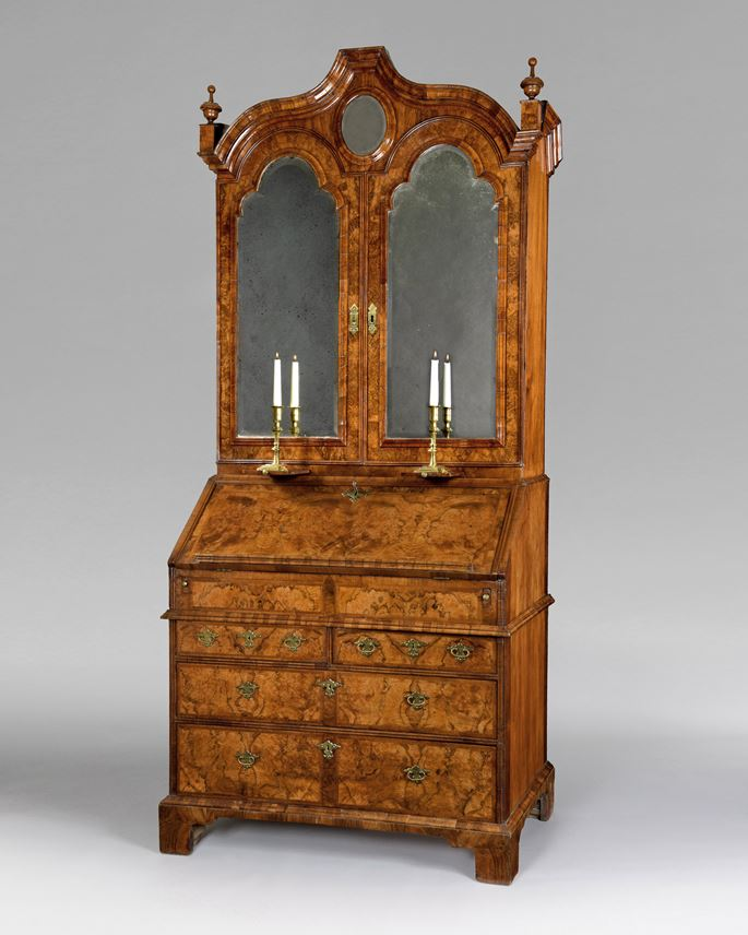 A superb Queen Anne period veneered walnut bureau bookcase | MasterArt