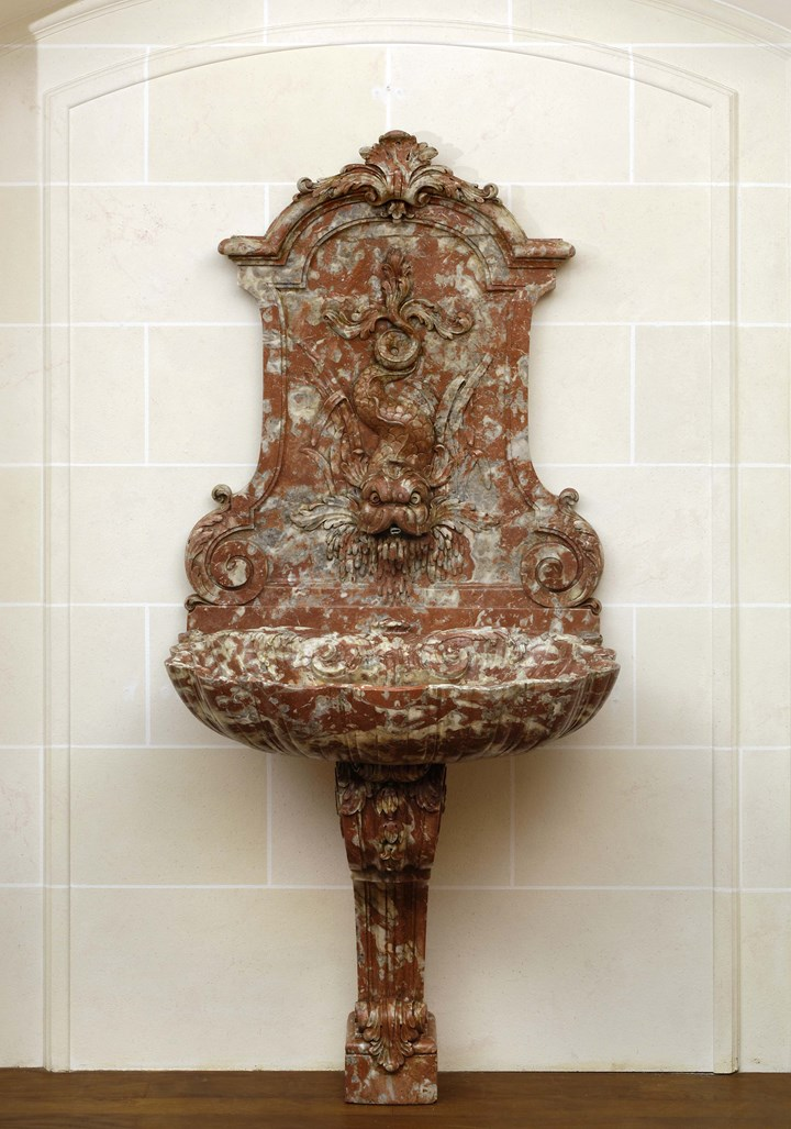 A baroque marble fountain