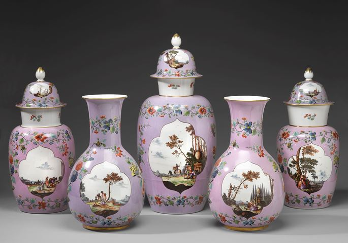 A garniture of five vases Probably painted by Adam Friedrich von Löwenfinck (Biala 1714–1754 Haguenau) | MasterArt
