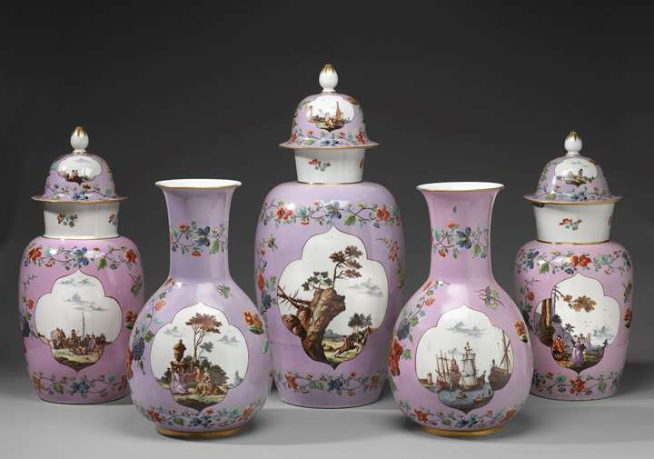A garniture of five vases