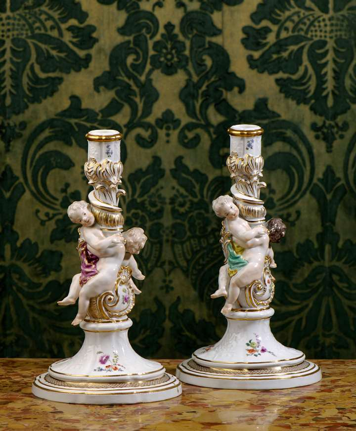 A pair of candlesticks from the service 'Gotzkowskys erhabene Blumen'