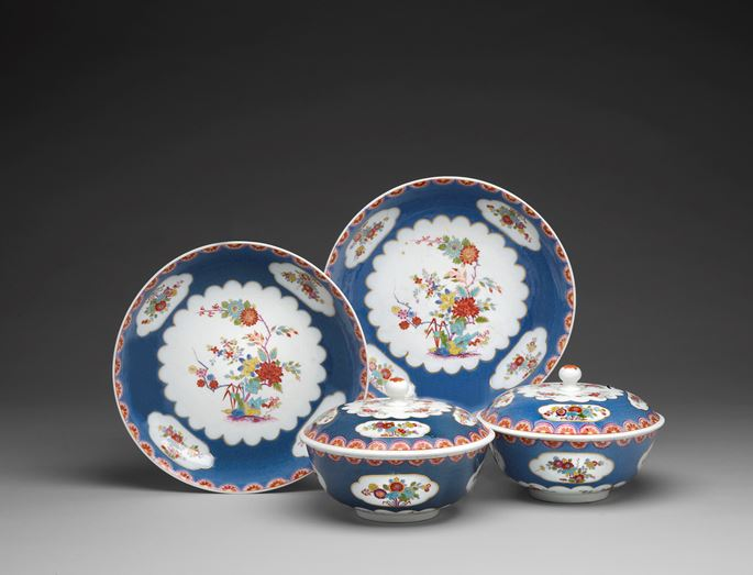 A pair of covered tureens and stands with enamel blue ground and floral decoration in the style of the Sakaida Kakiemon manufactory | MasterArt