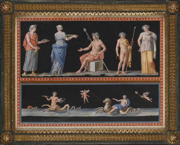 A pair of watercolours showing scenes from classical mythology on two registers