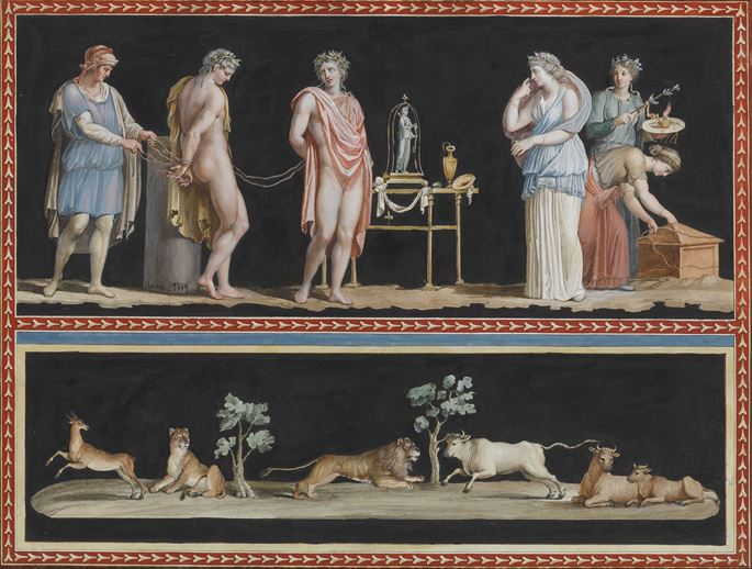 A pair of watercolours showing scenes from classical mythology on two registers | MasterArt