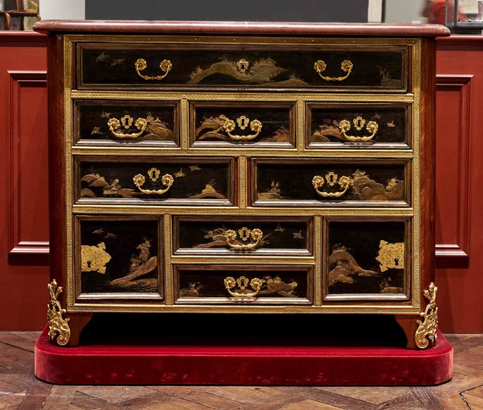 A rare and early black lacquer commode incorporating a ten-drawer lacquer cabinet | MasterArt