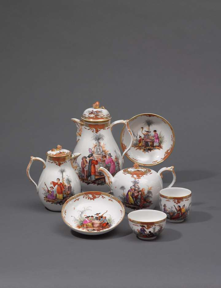 "A tea and coffee service, ""Glatt,"" painted with polychrome chinoiserie scenes"