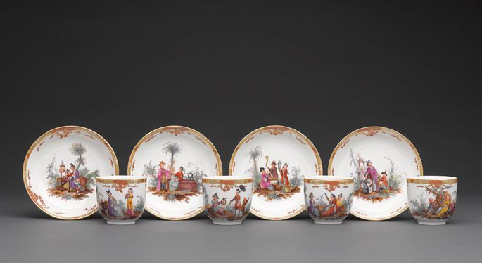 "A tea and coffee service, ""Glatt,"" painted with polychrome chinoiserie scenes 