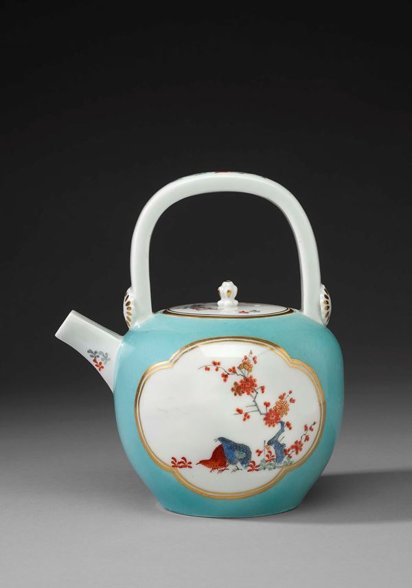 A turquoise ground kettle shaped teapot with 'Two Quails' pattern in the style of the Japanese Sakaida Kakiemon manufactory | MasterArt