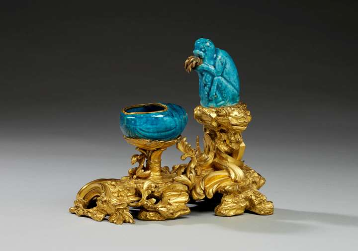 An ormolu mounted Chinese turquoise porcelain encrier