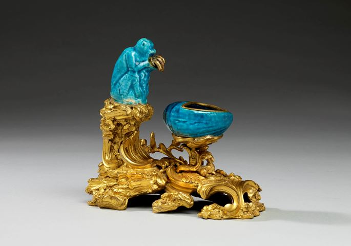 An ormolu mounted Chinese turquoise porcelain encrier | MasterArt
