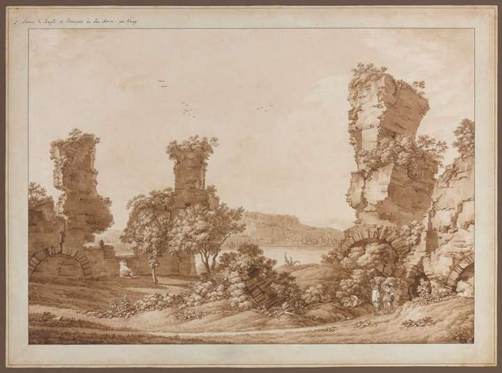 """View of the Venus-temple"" and ""View onto the Lago d'Averno"""