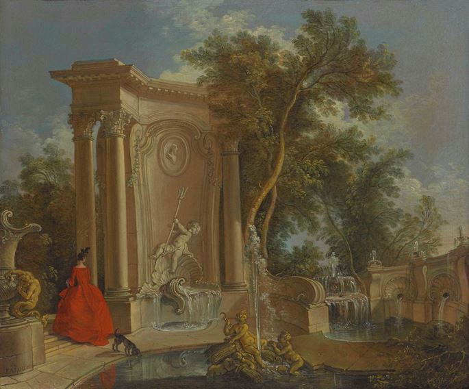 Jacques de Lajoue - Garden View with Fountains   | MasterArt
