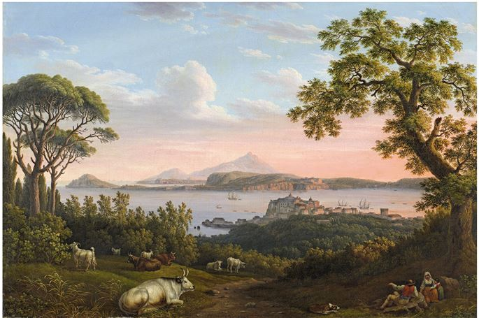 "Jacob Philipp Hackert - A set of four paintings ""View on the gulf of Pozzuoli"", ""View on Sessa Aurunca"",  ""The church of S. Maria delle Vergini in Scafati near Nocera Inferiore""  and ""View on Vallombrosa Abbey"" 