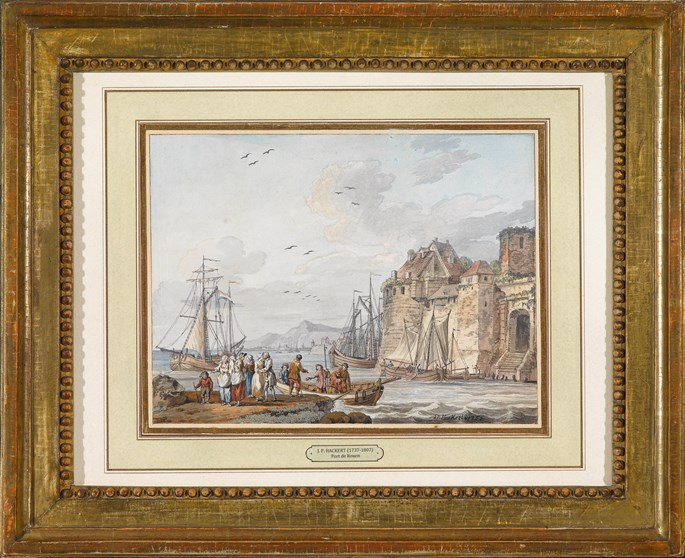 "Jacob Philipp Hackert - Pair of Gouaches ""View on the Port of Rouen"" and ""View on the Port of Lillebonne"" 