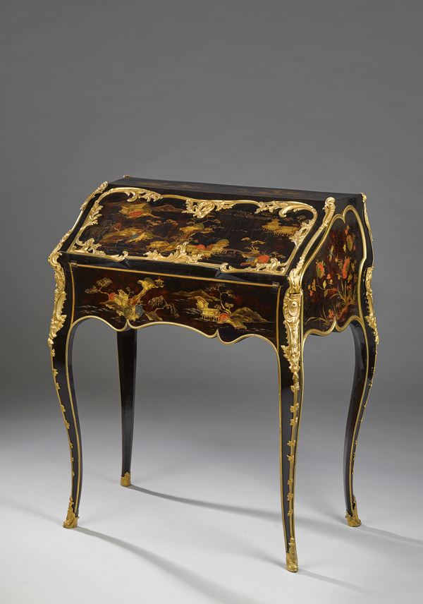 "Jacques Dubois - Black lacquer writing desk (""bureau en pente"") 