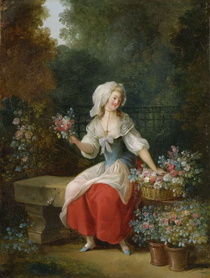 A pair of paintings with female flower-sellers