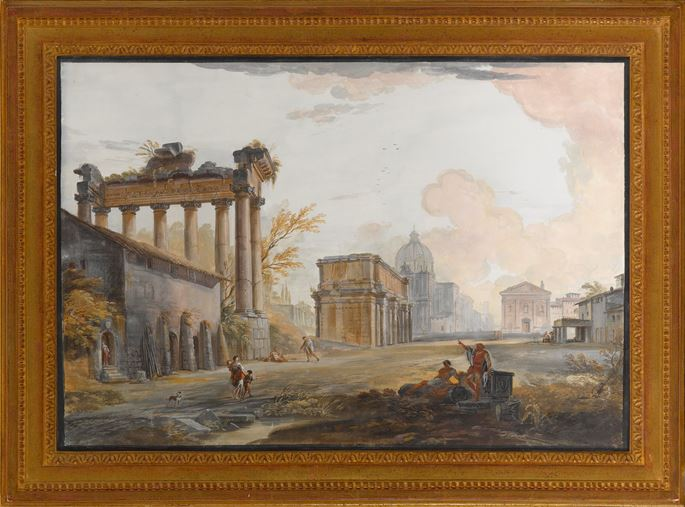 Jean-Baptiste Lallemand - Suite of four gouaches: Views of Rome | MasterArt
