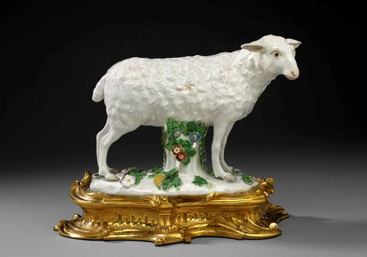 A ormolu mounted sheep