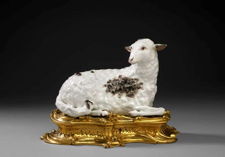 An ormolu mounted recumbent sheep