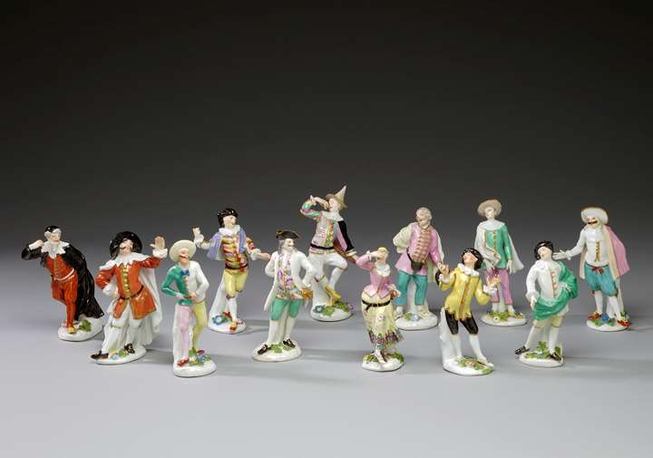 Twelve figures from the Commedia dell´Arte series for Johann Adolf II. Duke of Saxe-Weissenfels (1685-1746)