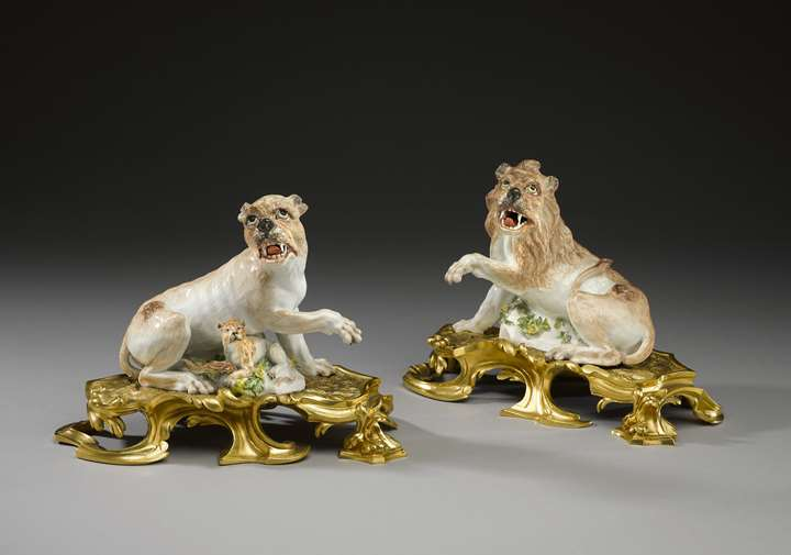 Two ormolu-mounted lions
