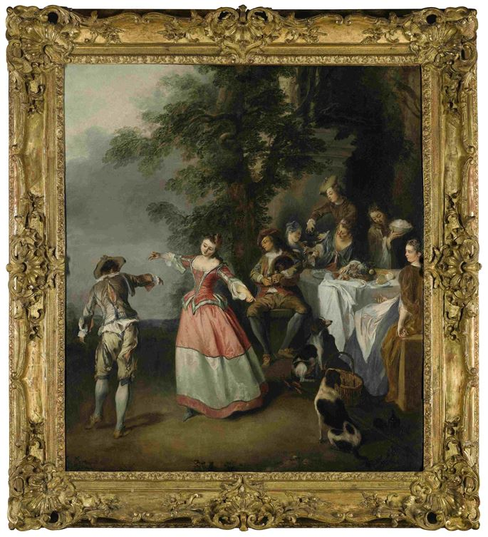 Nicolas Lancret  - Fête champêtre with dancing couple | MasterArt
