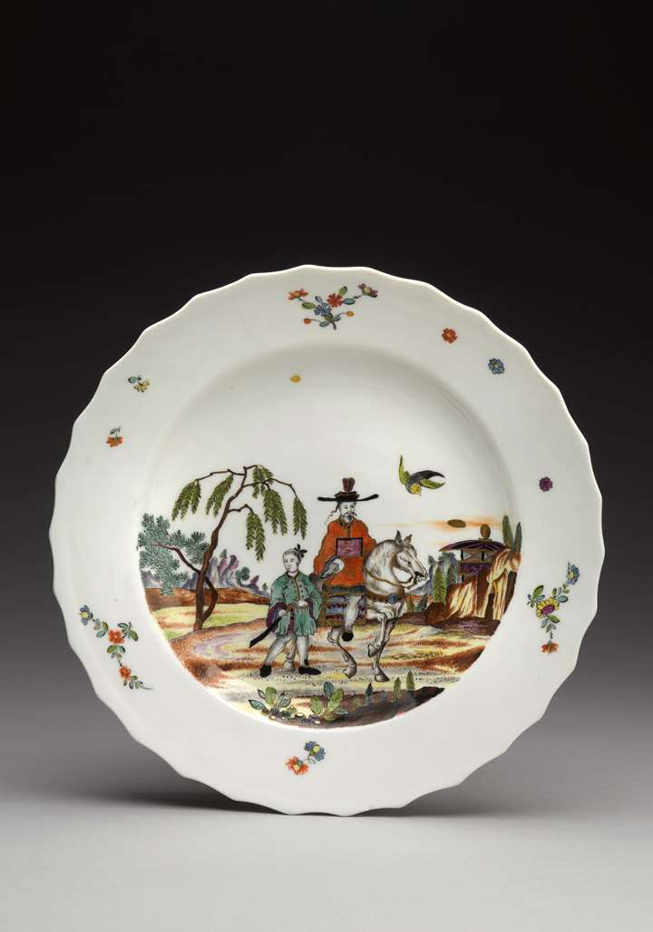 Plate with chinoiserie scene after an engraving by Pieter Schenk Junior (1698–1775)